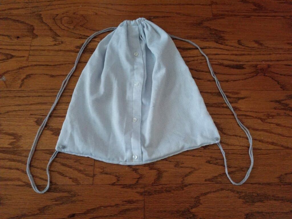 diy drawstring backpack - repurpose men's dress shirt