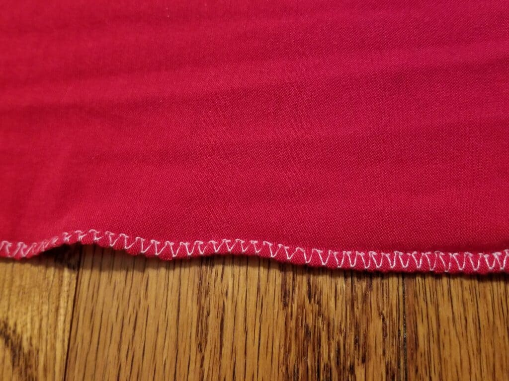 Example of Overcasting Stitch on Knit