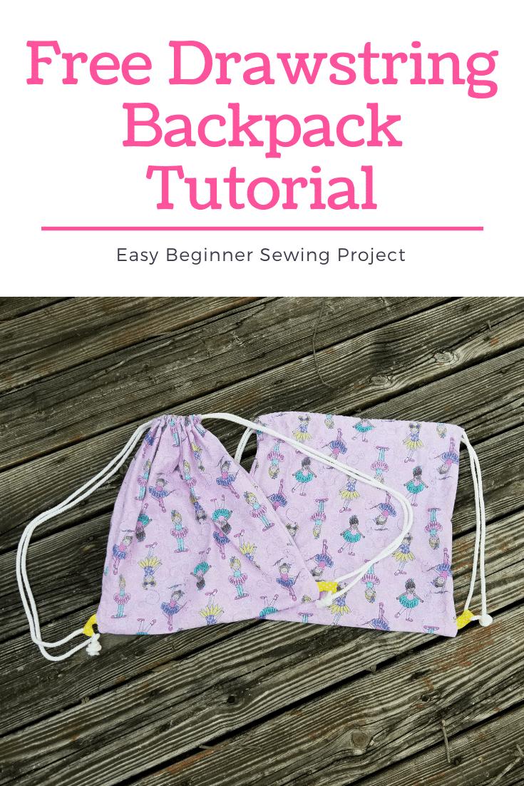 Free drawstring backpack tutorial