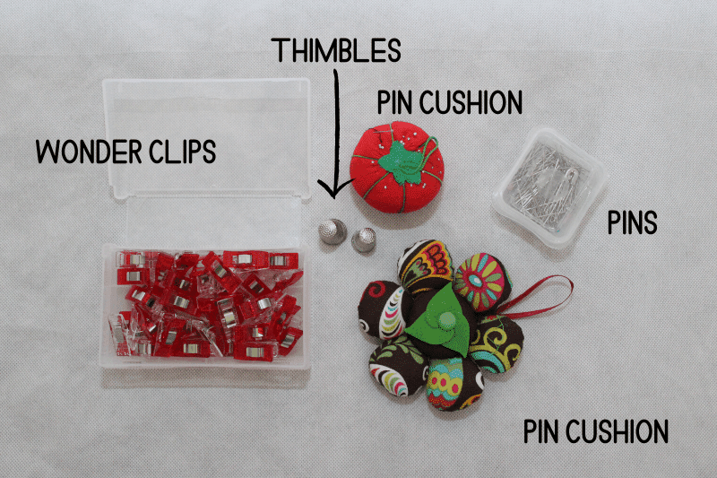 sewing notions pins pincushion and wonder clips