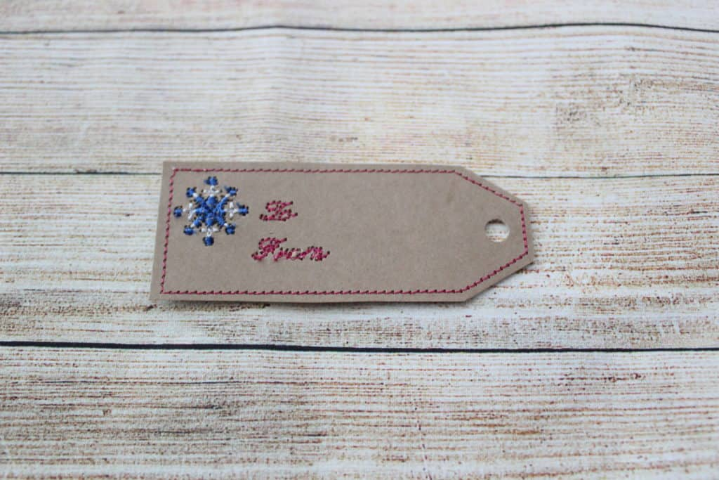 embroidering cardstock gift tags