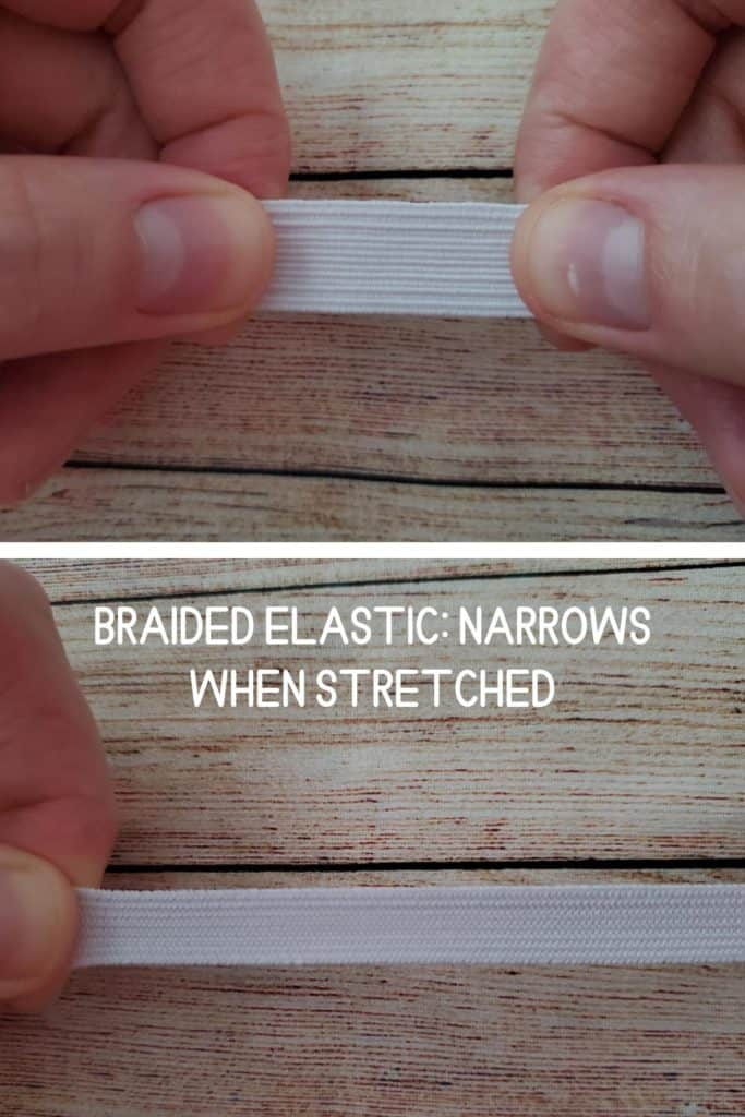 braided elastic narrows when stretched