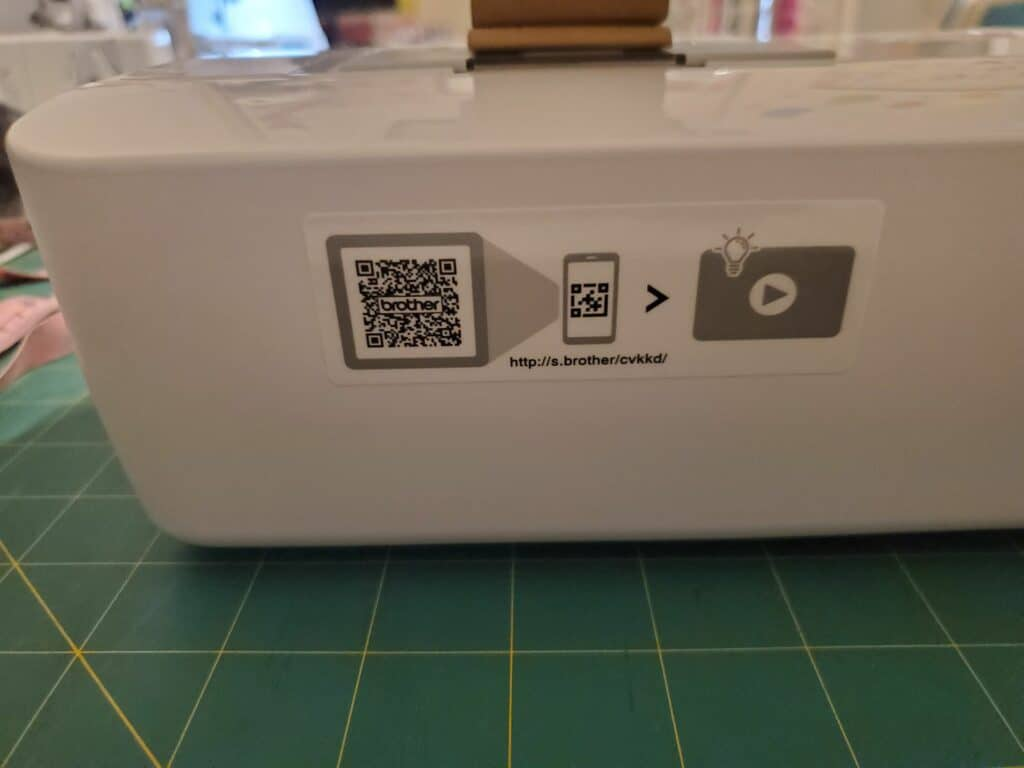 QR code on the side of the CS7000X sewing and quilting machine