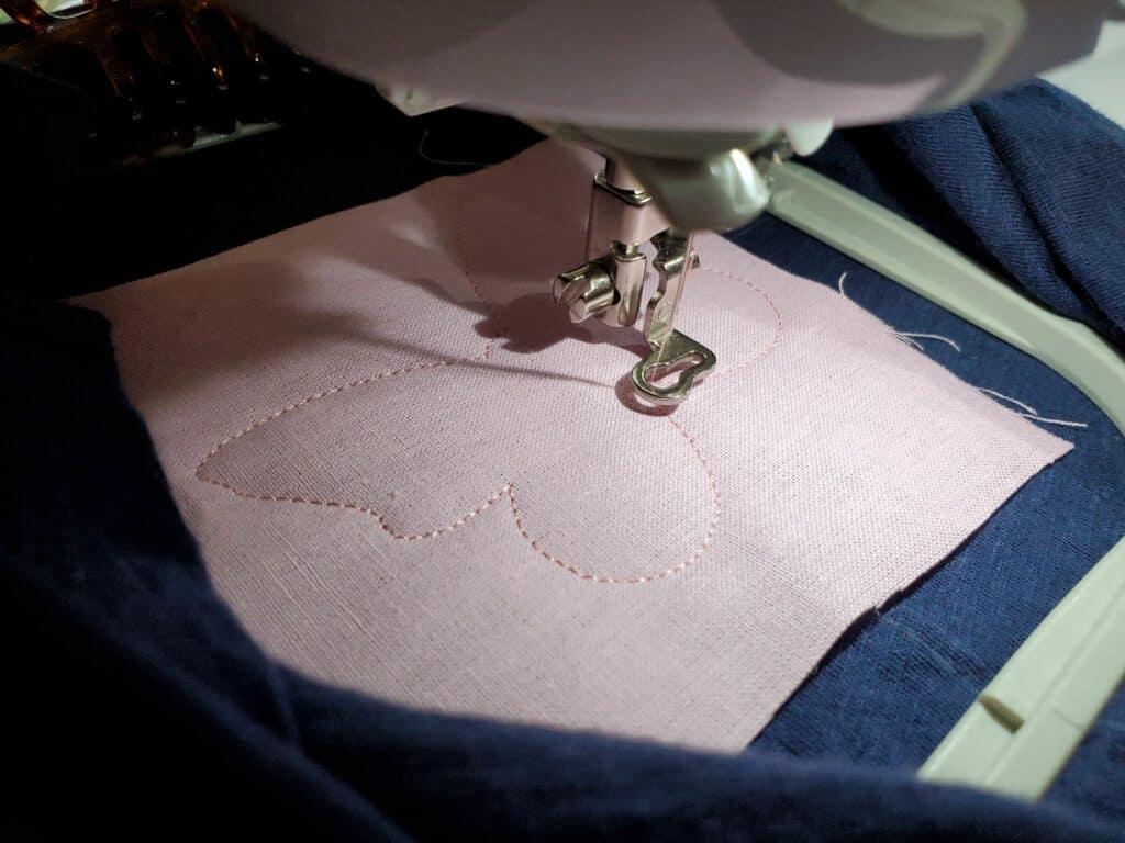 stitch tacking stitch over fabric