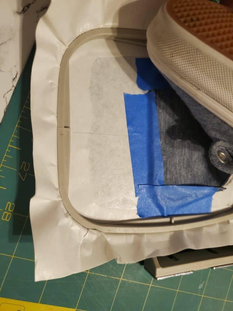shoe embroidery: how to hoop a shoe