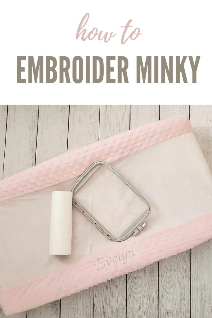 machine embroidery on minky fabric