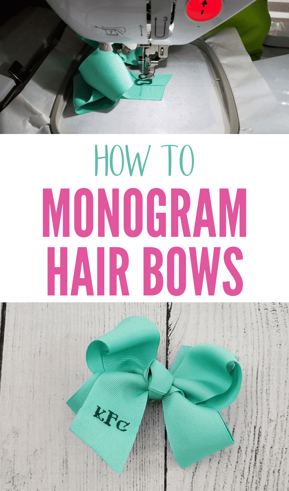 how to monogram hair bows