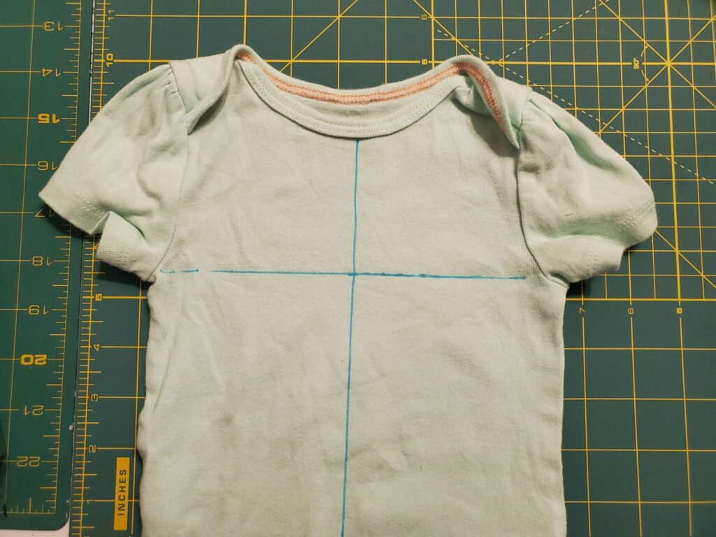 how to mark a onesie for embroidery