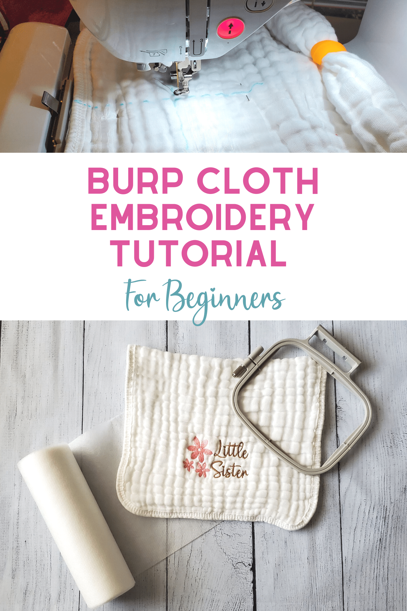 burp cloth embroidery tutorial for beginner