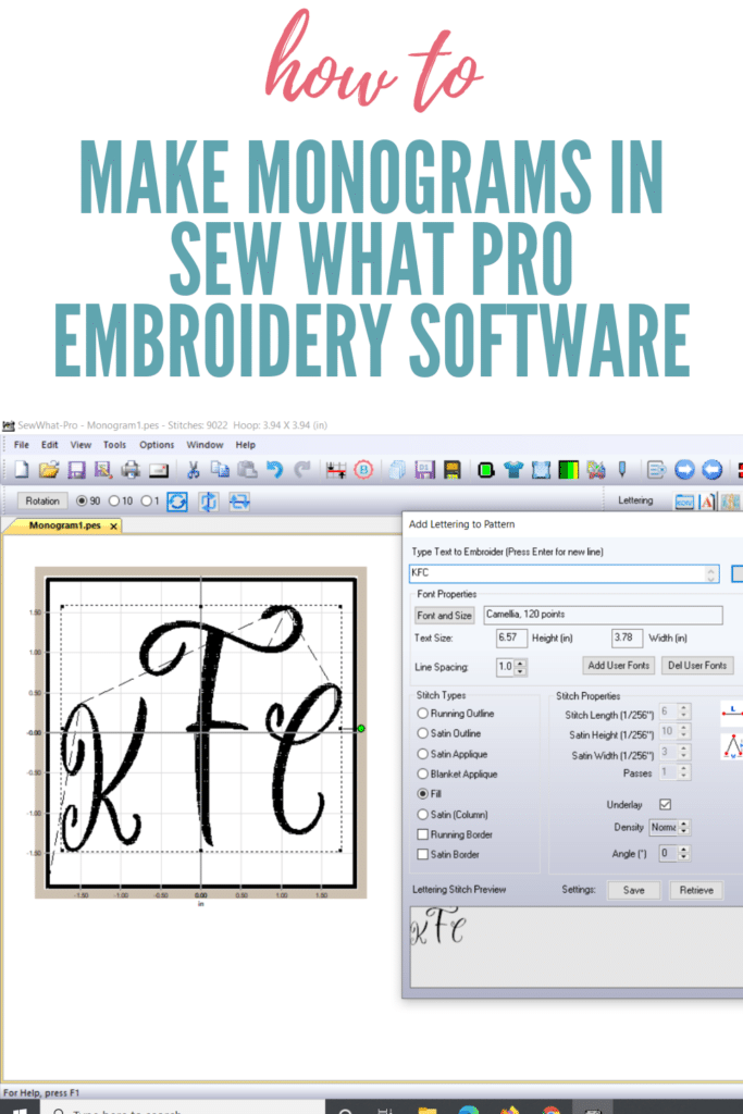 make monograms in Sew what pro embroidery software