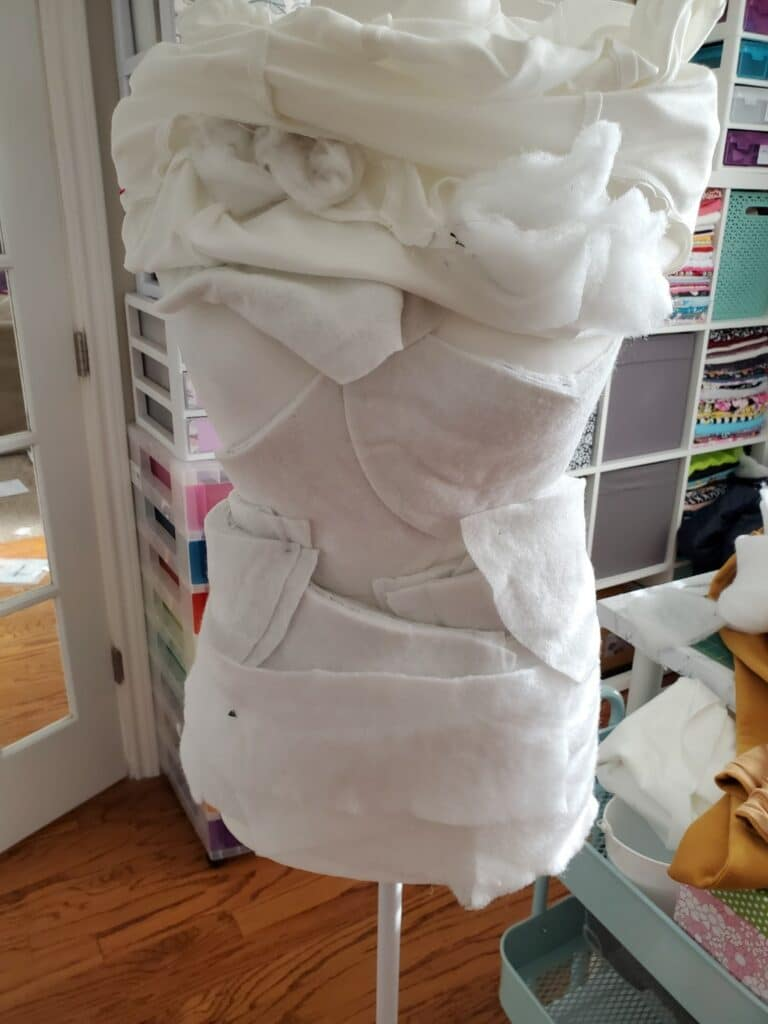 using shoulder pads to stuff the dress from didn't work