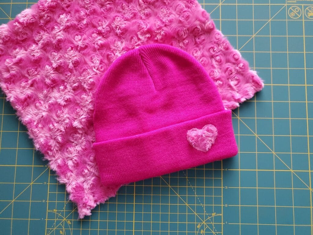 example of applique on a beanie hat