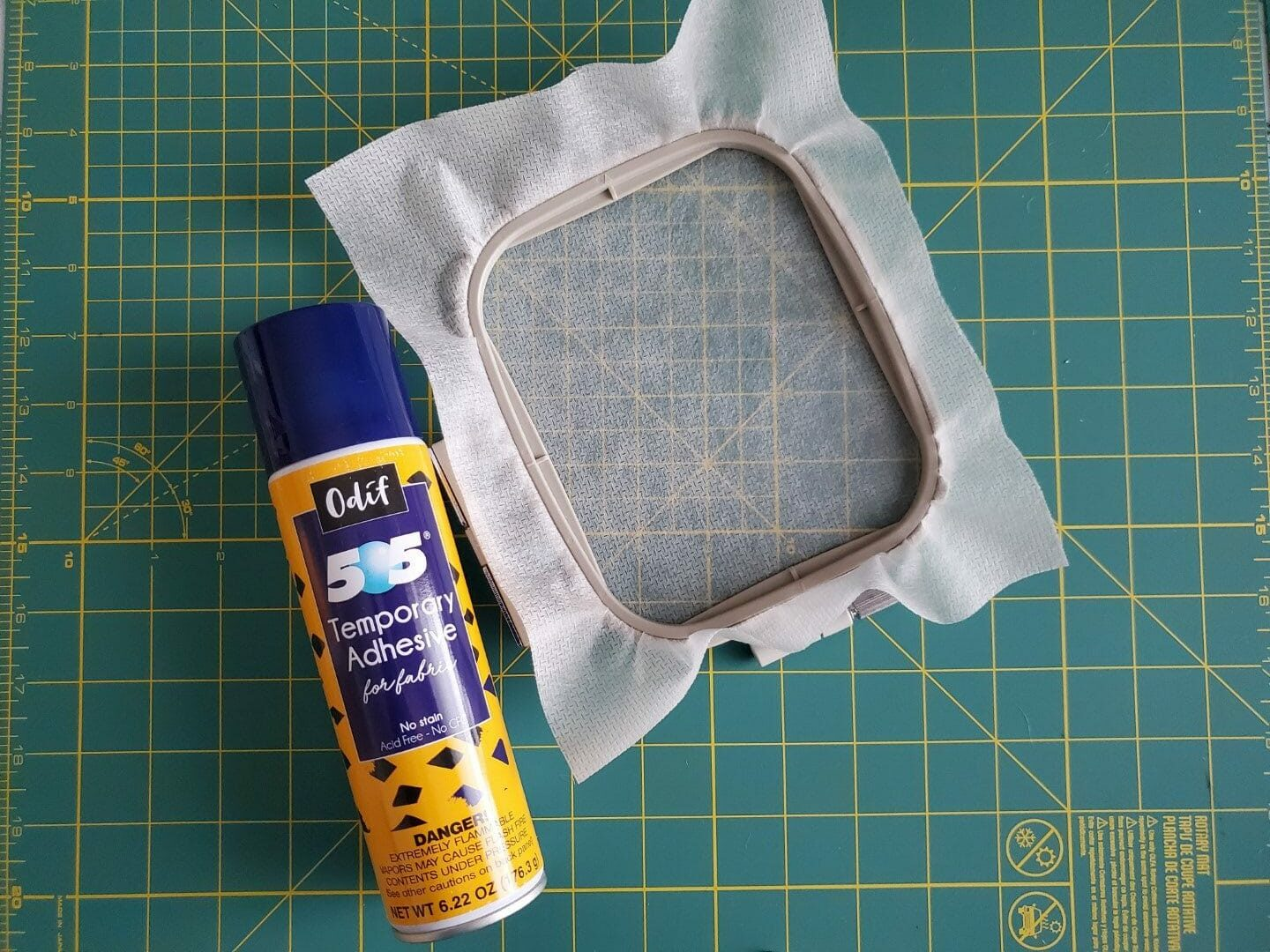adhering fabric to stabilizer
