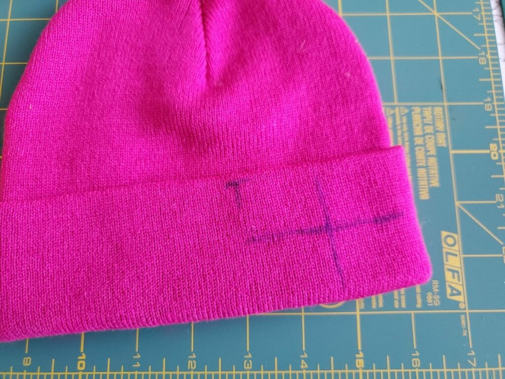 how to mark a beanie for embroidery