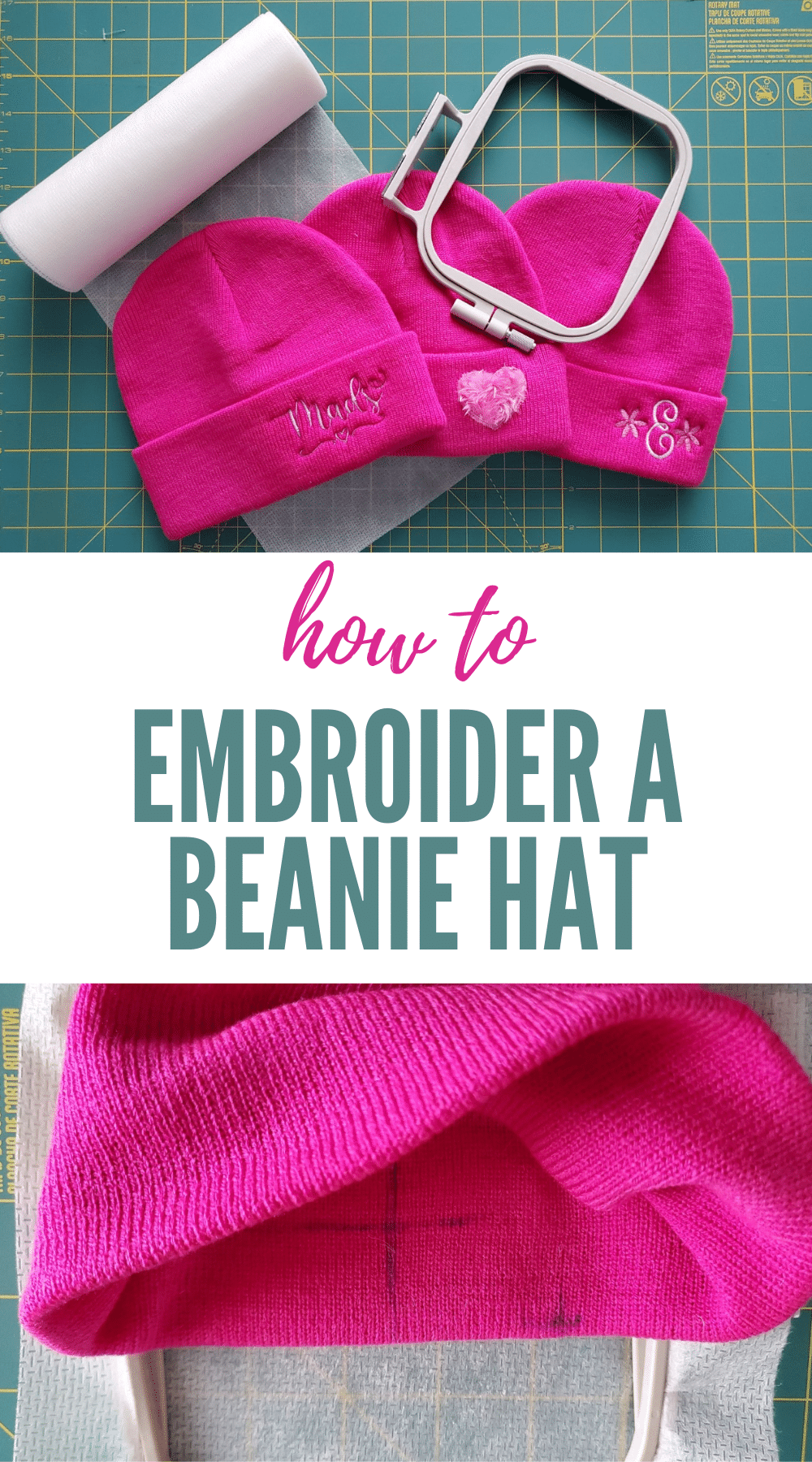 how to machine embroider a beanie hat