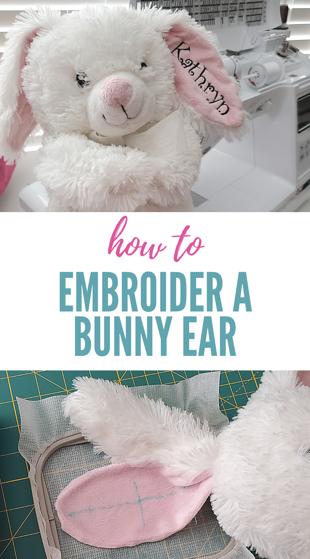 how to embroider a bunny ear