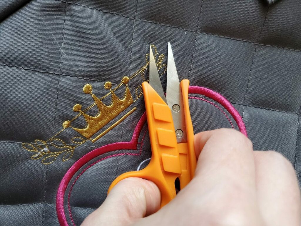 embroidery snips to remove jump stitches