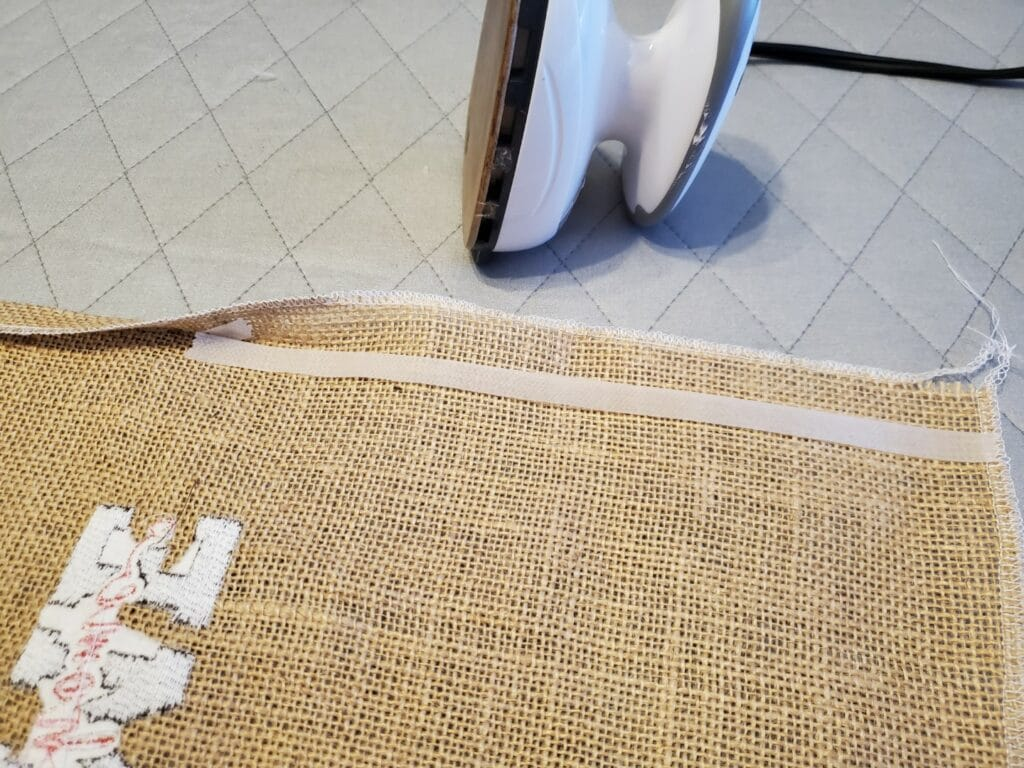 the back appearance of the burlap flag
