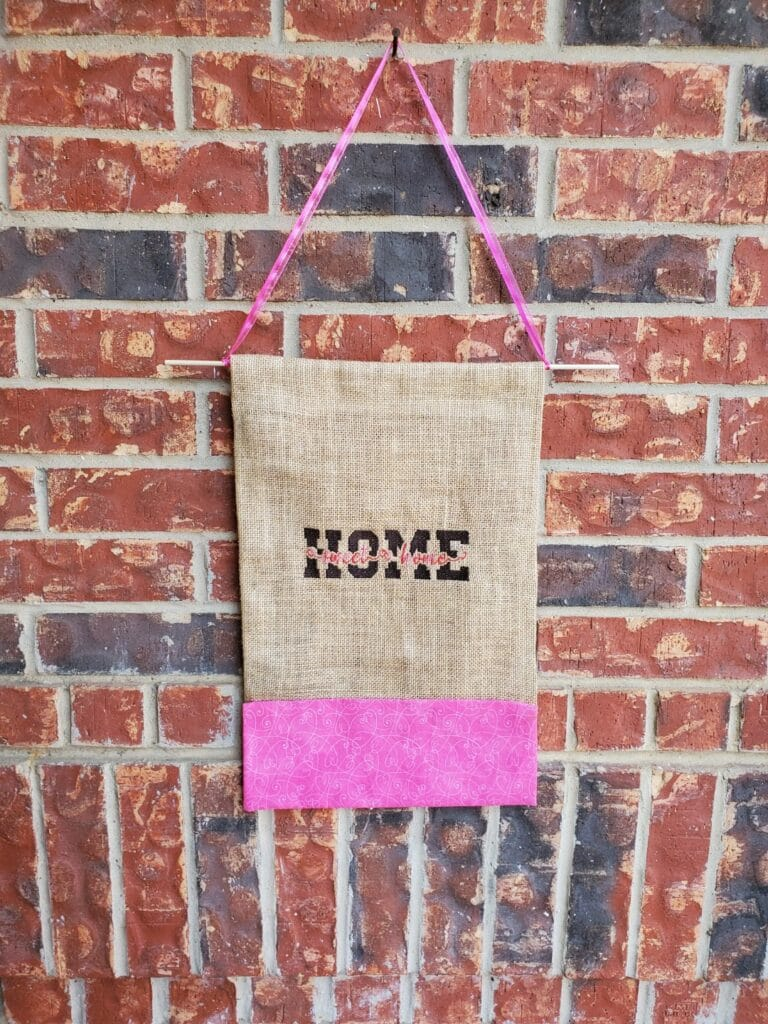 my embroidered burlap sign DIY