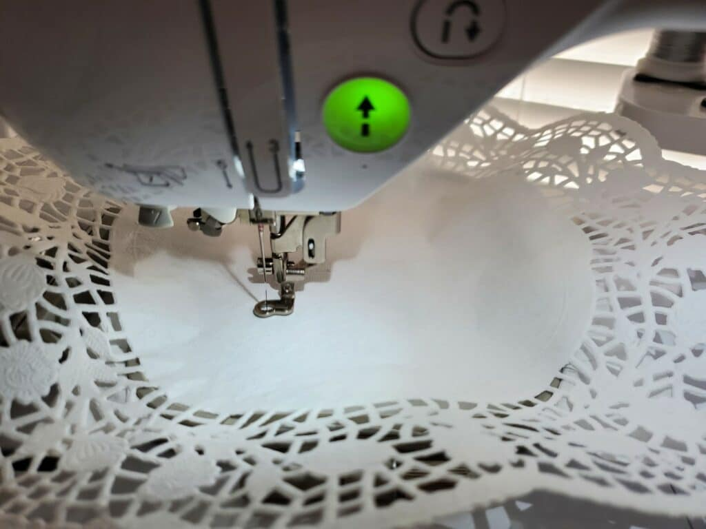 start embroidering the doily