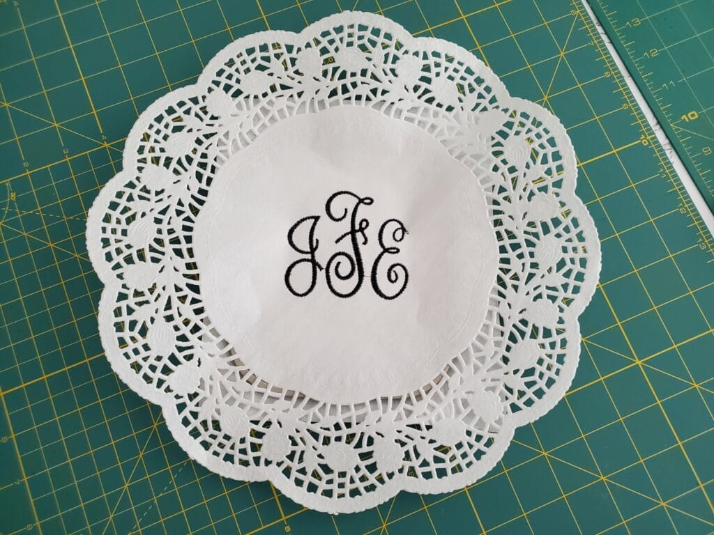 remove the embroidered doily