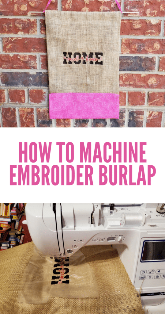 how to machine embroider on burlap