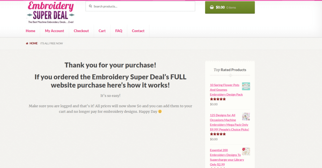 what happens after you purchase embroidery super deal