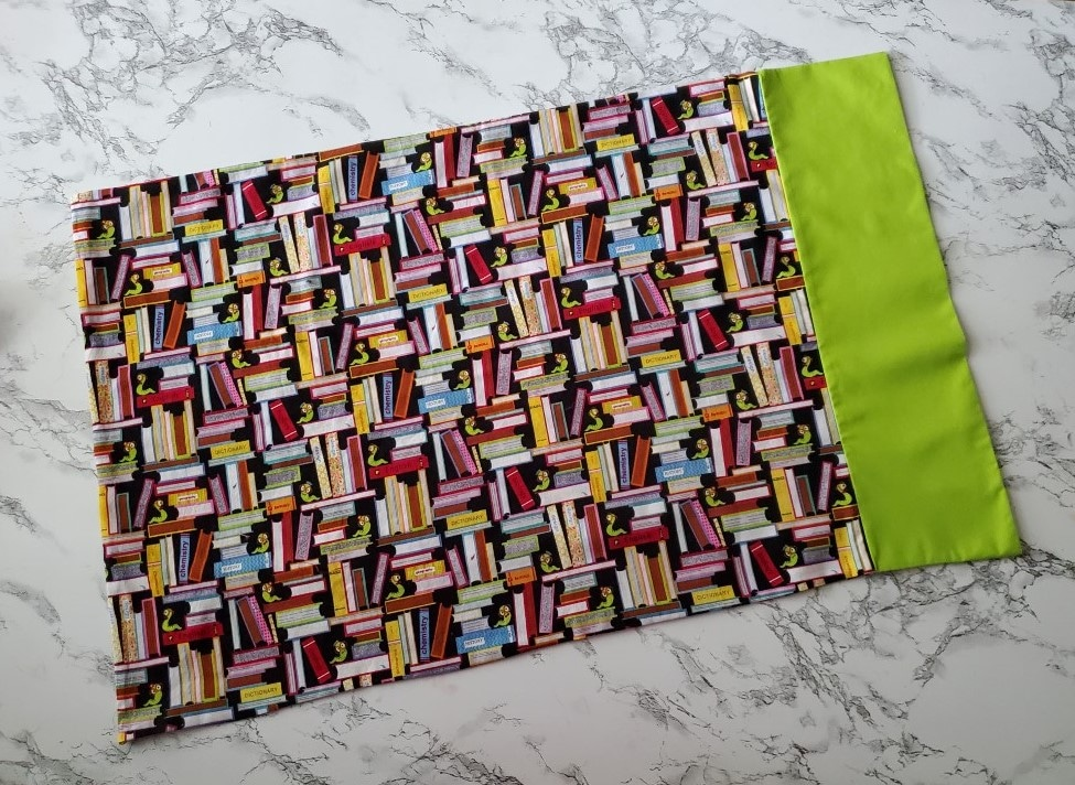 finished serger pillowcase with two fabrics