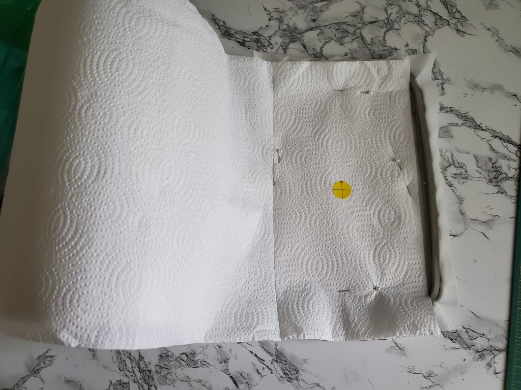 how to mark and pin paper towels to stabilizer