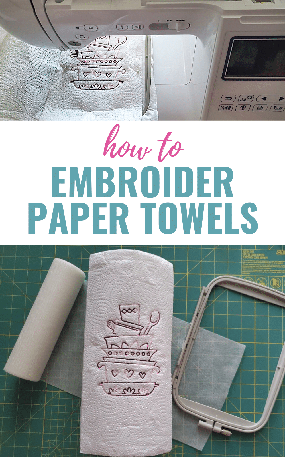 Embroider paper towels